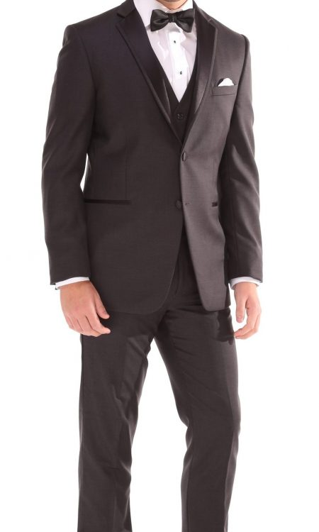 Ike Behar – Charcoal Aiden Tuxedo with Black Satin